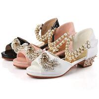 Girls Summer Casual Sweet Dress Princess Shoes Kids Peep Toe High Heels Sandals