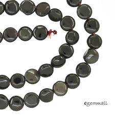 "Black Obsidian Flat Round Coin Beads 7 - 7.5mm 15.6"" #89001"