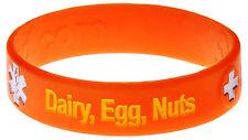 Dairy Egg Nut Food Allergy Orange Silicone Wristband Medical Alert ID Bracelet