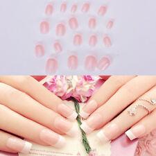 NEW 24pcs Manicure White Long French Style False Tips Fake Nails Stickers TB