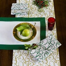 Sferra Frolic Holiday Placemat Cocktail Dinner Napkin Set for 4 Green Red NEW