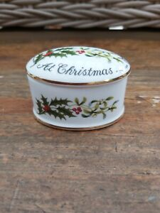 Vintage CROWN STAFFORDSHIRE 'Love & Best Wishes at Christmas' TRINKET POT