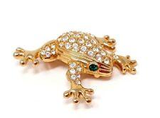 Vintage Swarowski Crystal Swan Frog Gold tone White Rhinestone Brooch