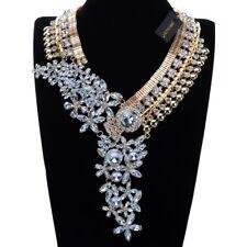 Fashion Gold Chain White Crystal Acrylic Chunky Choker Statement Bib Necklace