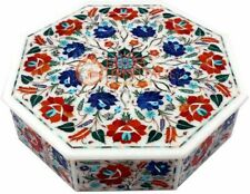 """12""""x12""""x4"""" Marble Jewelry Box Carnelian Inlay Marquetry Floral Art Veterans Gift"""