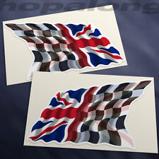 Chequered Flag/ Union Jack Sticker Decals (Pair). 120mm