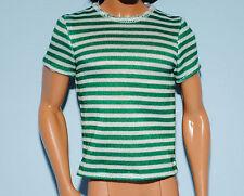 Green & White Striped Short Sleeved KEN Shirt Top Genuine BARBIE Fashion