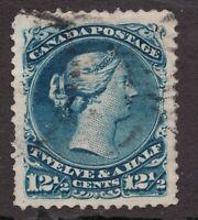 Sc #28 - Canada - 1875 - 12½c - Large Queen - Used - superfleas - cv$160
