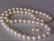 """18""""NATURAL 9-10MM AKOYA WHITE  PEARL NECKLACE EARRING SET 14k YELLOW GOLD"""