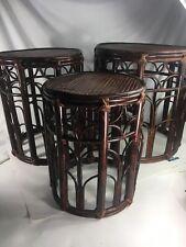 Vtg MCM Rattan Nesting Table, Bamboo 3 Circular Nesting Tables Rosenthal Netter