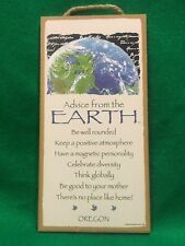 Advice from the Earth Inspirational Wood Nature Planet Sign Plaque Made in USA