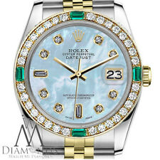 Ladies Rolex 26mm Datejust 2 Tone Baby Blue Mother Of Pearl 8+2 Emerald Diamond