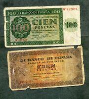 BILLETE lote 2 billetes , 100 pesetas 1936 , 100 1938