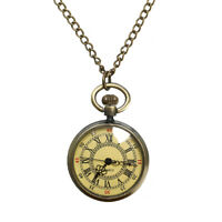 New Vintage Steampunk Retro Bronze Pocket Watch Quartz Pendant Necklace Chain