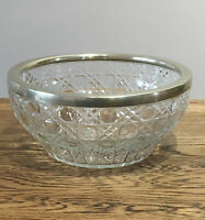 Vintage Cut Glass Bowl. Silver Plate Rim. Fruit Bowl 21.5x 10 Cm