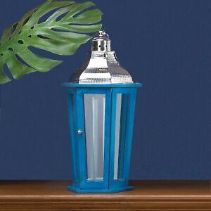 Blue Glass Stainless Steel Azul Beach Large Wooden Lantern Indoor Decor