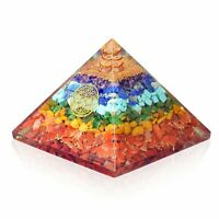 Extra Large 70-75 MM Orgone 7 Chakra Gemstone Pyramid Healing Energy Generator