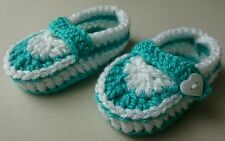 HAND MADE CROCHET BABY AQUA AND WHITE BOOTIES 3-6 MONTHS