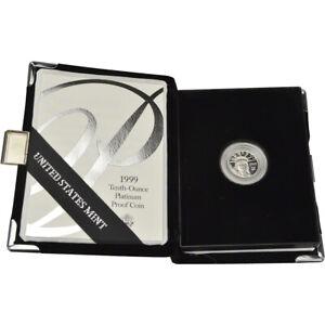 1999-W American Platinum Eagle Proof 1/10 oz $10 in OGP