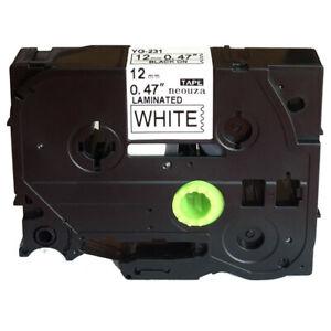 Black on White Label Tape for Brother TZe TZ 231 Tze231 PT-7100 PT-7500 PT-7 FSN