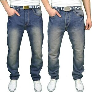 Seven Series Mens Comfort Relaxed Fit Belted Straight Leg Jeans