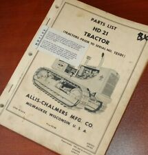 Allis Chalmers Hd21 Tractor Dozer Crawler Parts Manual Book Spare 1963 List 1965