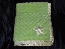 TADPOLES BABY BLANKET LIME GREEN SWIRL ROSE ROSETTE FUR SOFT SATIN STAR LOVEY
