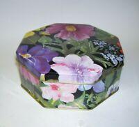Octagon Tin Box Flower Garden Design Made in England