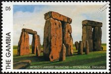 STONEHENGE Prehistoric Monument UNESCO World Heritage Site Stamp (1997 Gambia)