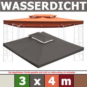 Pavillondach WASSERDICHT ~ 3x4m PVC 340g/m² ERSATZDACH wasserfest 300x400 4x3m