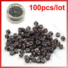 Lot of 100 pcs Silicone Micro Ring Feather Hair Extensions Crimp Beads Brown
