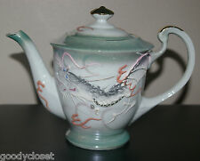 IREDESCENT GREEN TRIM MORIAGE DRAGONWARE TEA POT GOLD TRIM