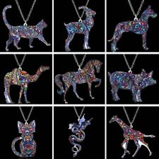 Women Ladies Thermal Transfer Printing Animal Cat Dog Pendant Necklace Jewellery