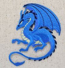 Iron On Embroidered Applique Patch - Mythical Fantasy Dragon - Blue Facing Left