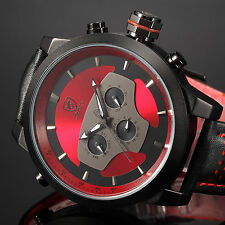 SHARK Mens Military Sport Wrist Watch Leather Date Analog Quartz Red