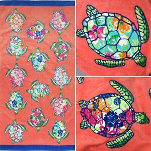 Cynthia Rowley Sea Turtle Beach Towel Hawaiian Tropical Floral Pool Spa 36x70