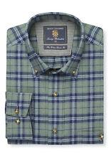 Brook Taverner Men's Navy And Moss Check Button Down Collar Single Cuff Shirt