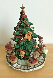 """Vintage Rotating Musical Christmas Tree Elves 8"""" Tall We Wish You a Merry Xmas"""