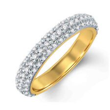 Round D/VVS1 Half Eternity Wedding Rings 14K Yellow Gold Over Sterling Silver