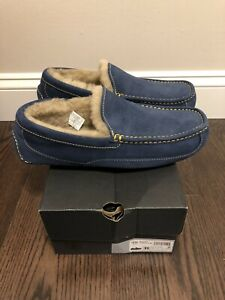 New UGG Men's Size 11 Ascot Moccasin Slipper NLMN Blue Yellow