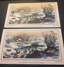 Greeting Cards Set Of 2 Currier & Ives New Reproduction Christmas Winter Scene