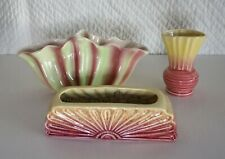 3 Vintage Vases Pates Diana as found Pink Green Flared Yellow Sunrise Sunburst