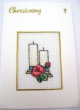"""Christening Card Completed Cross Stitch 6x4"""""""