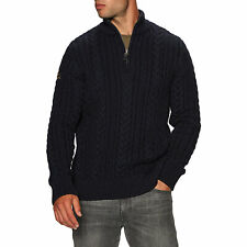 Superdry Jacob Henley Homme Pull Sweater - Downhill Navy Toutes Tailles