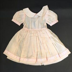 """VTG Handmade Doll Dress For Larger 20"""" Pink Batiste UNFINISHED Needs Closures"""