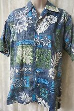 GO BAREFOOT SHIRT SMALL  Button Front BLUES GREENS HAWAIIAN PRINT G