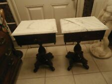 ANTIQUE VICTORIAN STYLE PAIR OF SOLID MAHOGANY MARBLETOP SIDETABLEGENUINEIMARBLE