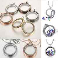Unique Living Memory Floating Charm Crystal Glass Round Locket Pendant Necklace