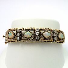 Retro Victorian 14k Yellow Gold Fiery Opal Diamond Filigree Bangle Bracelet