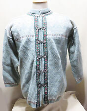 SQUAW VALLEY100% WOOL HEATHER GREEN SNOWFLAKE PATTERN CARDIGAN SIZE PM